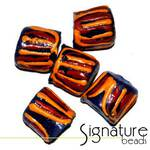 Dark Blue African Krobo Safari Beads with Ochre and Rust Stripes