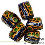 Dark Blue African Krobo Safari Beads with Ochre, Green and White Design
