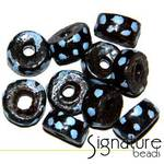 Black African Krobo Safari Beads with Blue Spots
