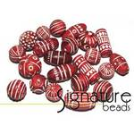 Red Hand-made Carved Clay Beads