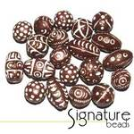 Dark Brown Hand-made Carved Clay Beads