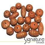 Natural Hand-made Carved Clay Beads
