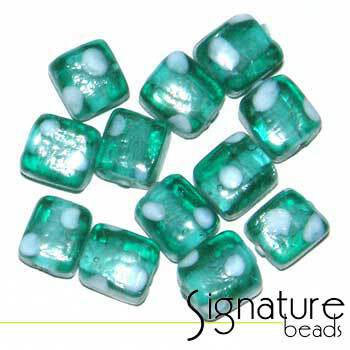 Cube Beads with White Spots<br>Light Aqua<br>Packet of 12