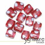 Cube Beads with White Spots<br>Pink Fuchsia<br>Packet of 12