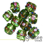 Venetian-Style Fiorato Beads<br>12mm Peridot Cubes<br>Packet of 10