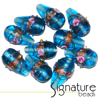 Venetian-Style Fiorato Beads<br> Turquoise Tear Drops