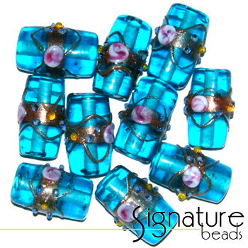 Venetian-Style Fiorato Beads<br> Turquoise Tubes<br>Packet of 10