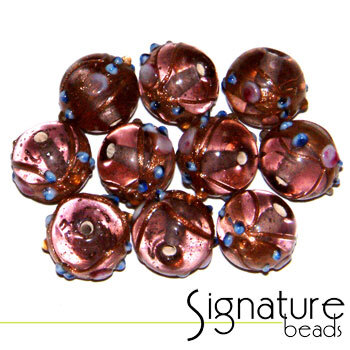 Venetian-Style Fiorato Beads<br>12mm Round Light Amethyst<br>Packet of 10