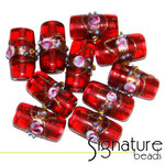 Venetian-Style Fiorato Beads<br>Fuschia Pink Tubes<br>Packet of 10