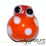 Orange Glass Lady Bug with Red Head