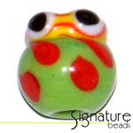 Green Glass Lady Bug with Yellow Head