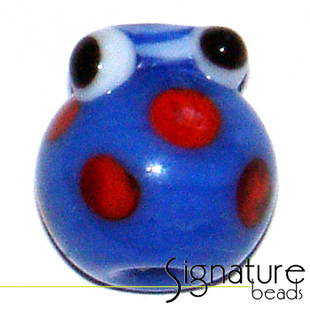 Blue Glass Lady Bug with White Head