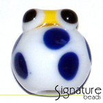 White Glass Lady Bug with Yellow Head