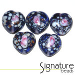 Purple Speckled Heart Glass Beads