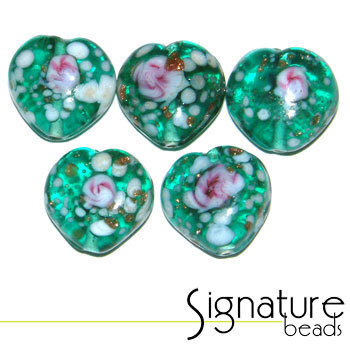 Teal Speckled Heart Glass Beads