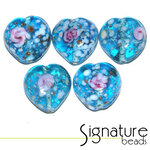 Light Blue Speckled Heart Glass Beads