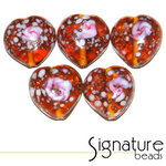 Topaz Speckled Heart Glass Beads