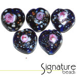 Dark Blue Speckled Heart Glass Beads