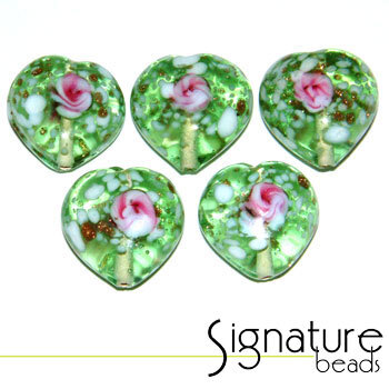 Light Green Speckled Heart Glass Beads