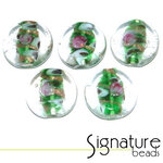 Clear Glass Coin Beads with a Green Decorative Core
