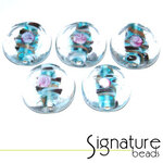 Clear Glass Coin Beads with a  Light Blue Decorative Core