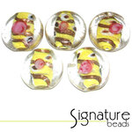 Clear Coin Beads<br> Yellow Decorative Core<br>Packet of 5