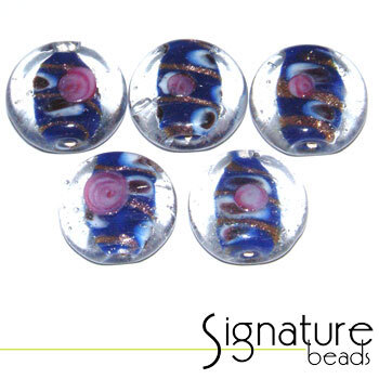 Clear Glass Coin Beads with a Dark Blue Decorative Core