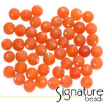 Orange Frosted Round Glass Beads