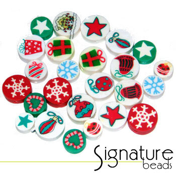 Round Fimo Coin Beads with Assorted Christmas Designs