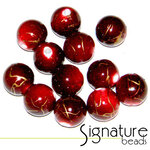 Red 10mm Round Acrylic Beads with a Touch of Gold