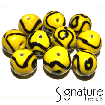 Funky Yellow and Black Rounds - Packet of 10
