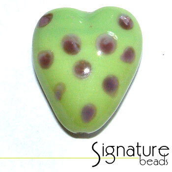 Lime Green and Purple Funky Heart Glass Bead