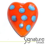 Orange and Blue Funky Heart Glass Bead