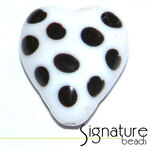 White and Black Funky Heart Glass Bead