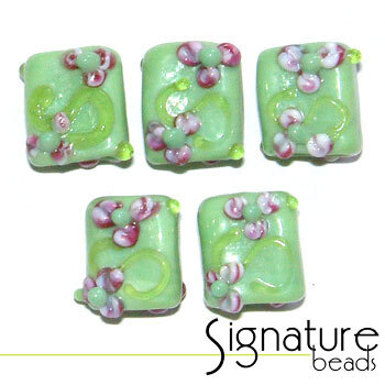 Light Green Rectangles with Lampwork Floral Design<br>Packet of 5