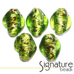 Peridot Twists with Flecked Silver Foil Core
