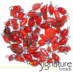 Black Nickel Wire Wrapped Red Toned Glass Beads