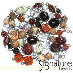 Black Nickel Wire Wrapped Natural Toned Glass Beads