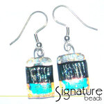 Dichroic Glass Earrings with Black, Blue, Pink and Gold Tones