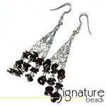 Black Glass Bead and Sequin Silver Plated Earrings