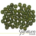 Olivine Frosted Round Glass Beads
