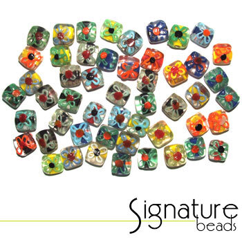 Colourful Floral Square Signature Glass Bead Mix