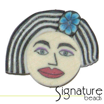 Black and White Bob FIMO Polymer Clay Face Bead