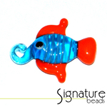 Blue Lampwork Glass Fish with Orange Fins