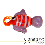 Orange Lampwork Glass Fish with Purple Fins