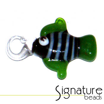 Black Lampwork Glass Fish with Green Fins