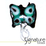 Lampwork Glass Black Butterfly with Green and White Design