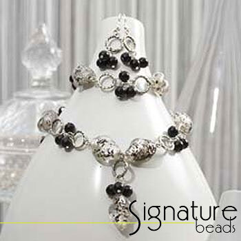 Black and White Silver Foil Bead Necklace, Bracelet and Earring Kit