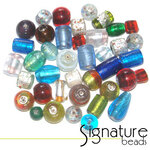 Mix of Lovely Silver Foil Glass Beads