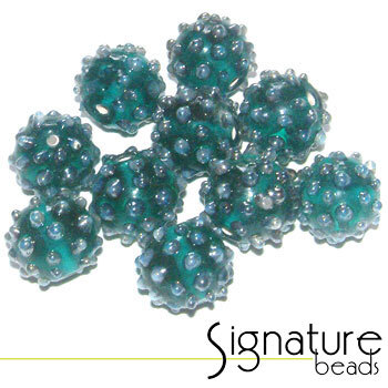 Round Teal Beads with Raised Silver Grey Dots